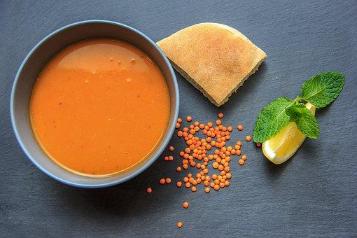 Soup, Food, Dish, Lemon, Lentils, Pita, Tomato Soup