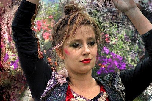 Woman, Artist, Makeup, Face, Beauty, Girl, Dancer