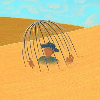 Desert, Man, Cage, Loneliness, Captivity, Traveler
