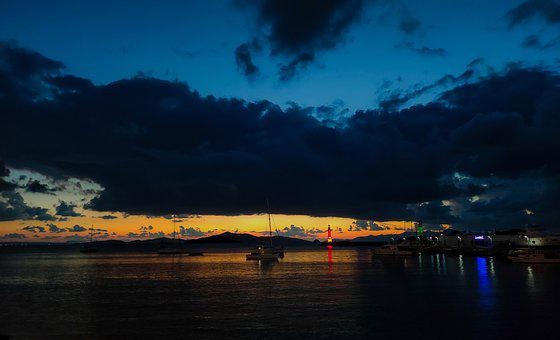 Sailboat, Ocean, Sunset, Beach, Marine, Nature, Clouds