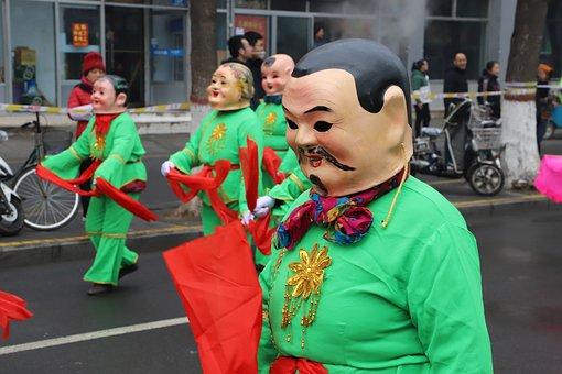 Lantern Festival, Big Head Doll, Parade, Characters