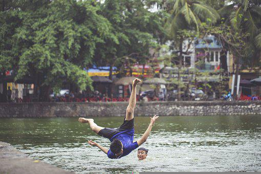 River, Jump, Swimming, Boy, Teen, Leisure, Fun, Swim