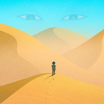 Desert, Man, Travel, Eyes, Loneliness, Wandering