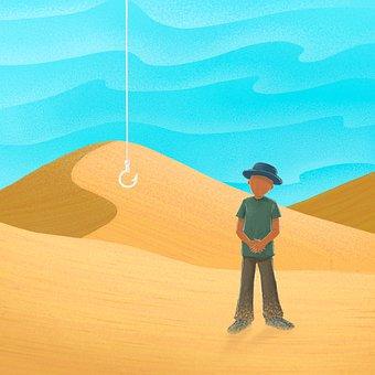 Desert, Man, Fishing Hook, Traveler, Loneliness