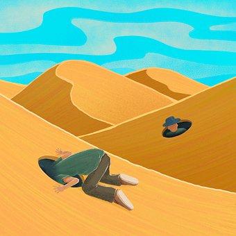 Desert, Man, Hole, Wandering, Loneliness, Traveler