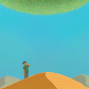 Desert, Man, Traveler, Sand Dune, Wandering, Sahara