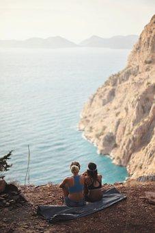Turkey, Friends, Girls, Nature, Sea, Mountains, Rocks