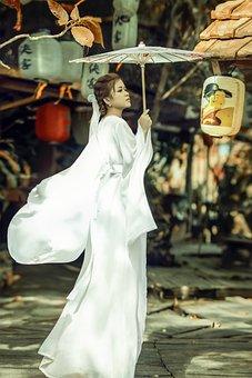 Woman, Girl, Model, Umbrella, White Dress, Fashion