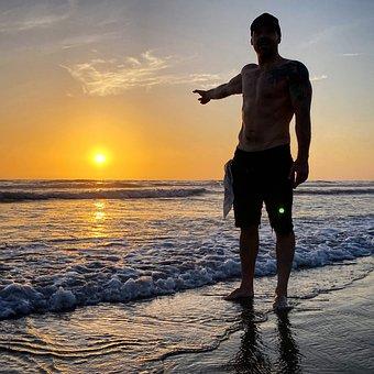 Sunset, Man, Beach, Guy, Vacation, Holiday, Leisure