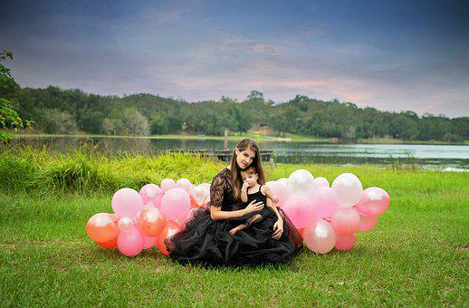 Mother, Daughter, Balloons, Meadow, Woman, Baby