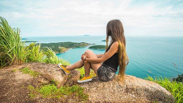 Woman, Mountain, Sea, Sitting, Leisure, Vacation