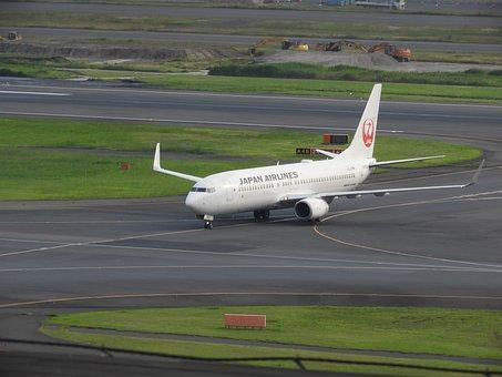 Japan Airlines, Airplane, Airport, Runway, Tarmac