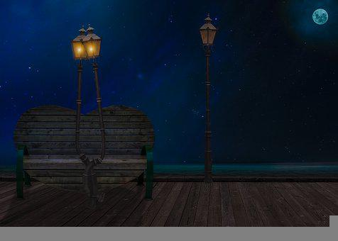 Bench, Park, Night, Street Lamp, Street Light, Lamppost
