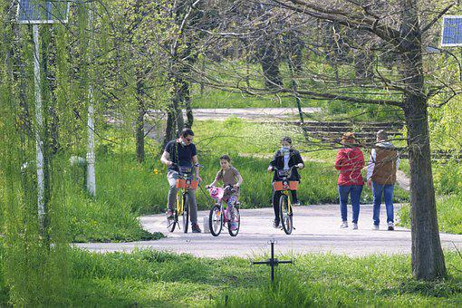Family, Bicycle, Park, Leisure, People, Little Girl