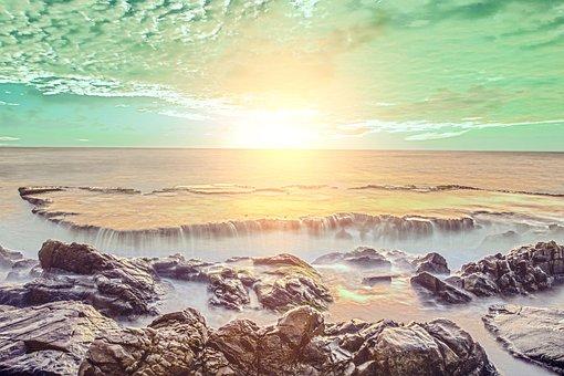 Sunrise, Waterfall, Cliff, Sunset, Dawn, Dusk, River