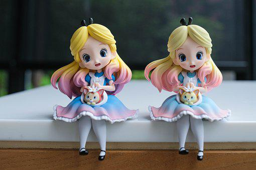 Alice, Figures, Toys, Alice In Wonderland, Pair, Couple