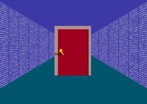 Door, Security, Digital, Binary, Protection, Network