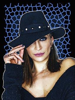 Woman, Face, Head, Hat, Female, Portrait, Model