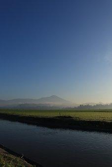 River, Field, Mountains, Water, Farm, Meadow