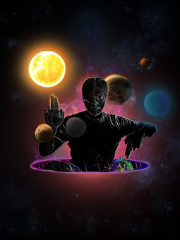 Galaxy, Planets, Man, Gesture, Two-finger Salute