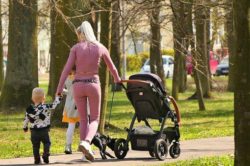 Woman, Children, Stroller, Walks, Health, Holiday, Park