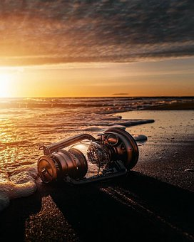 Lamp, Beach, Sunset, Gas Lamp, Kerosene Lamp, Sea