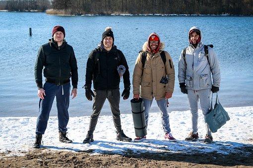 Men, Winter, Lake, Group, Leisure, Tourists, Guys
