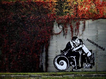 Mural, Vine, Love, Disability, People, Man, Woman