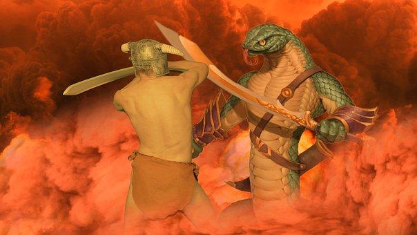 Fantasy, Warrior, Snake, Cobra, Sword, Man, Fighter