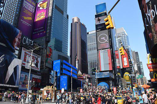 New York, Times Square, People, Busy, Street