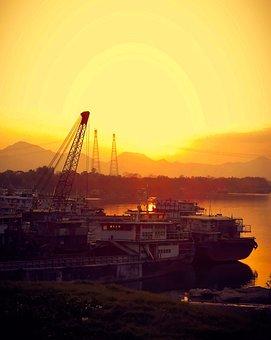 Sunrise, Ships, Pier, Port, Dock, Shipping, Boats