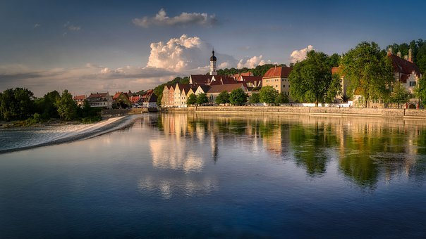River, Town, Buildings, Reflection, Water, Old Town