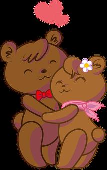 Bears, Couple, Love, Hug, Heart, Romance, Romantic