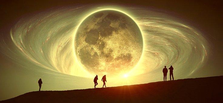 Fantasy, Moon, Human, Night, Dream, Sky, Surreal, Space