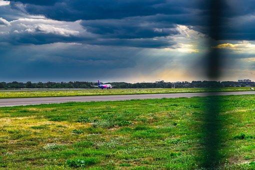 Plane, Sky, Aircraft, Vzletnaya Polosa, Flight