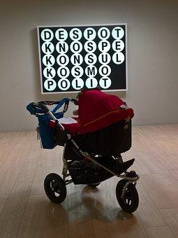 Pram, Child, Infant, Baby At The Museum, Art, Light, St