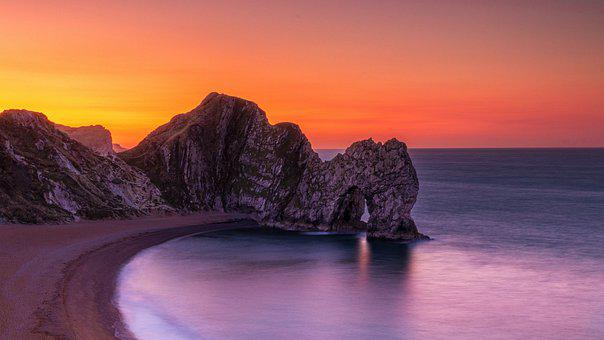 Beach, Cliff, Sunset, Sea, Ocean, Rock Formation, Coast