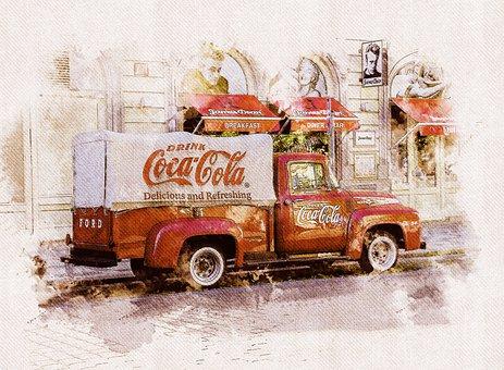 Truck, Car, Coca Cola, Vehicle, Building, Prague