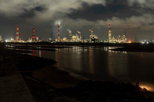 Industrial Area, Night View, Estuary, Fisherman