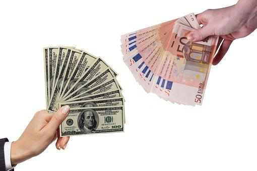 Dollar, Euro, Money, Hands, Bills, Change, Banknotes