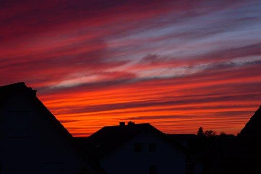 Sunset, Abendstimmung, Houses, Red, Sky, Evening