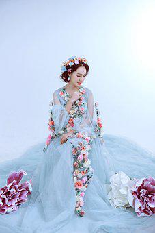 Bride, Wedding Dress, Fashion, Flowers, Peony, Dress