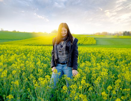 Young Woman, Field, Spring, Rapeseed Field, Flowers