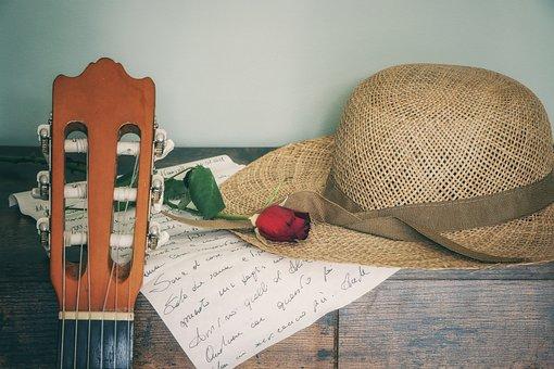 Guitar, Hat, Letter, Music, Rose, Red Rose, Instrument