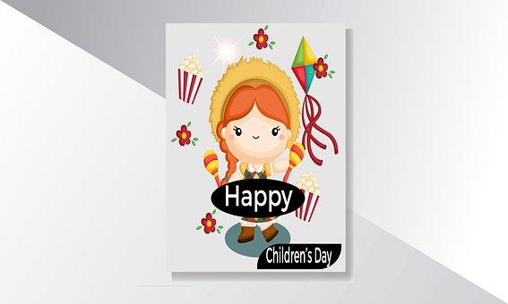 Child, Girl, Cartoon, Kid, Childhood, Kite, Flowers