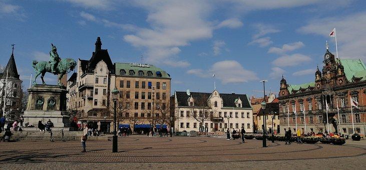 Town, Square, Malmo, Market Square, Main Square, Statue