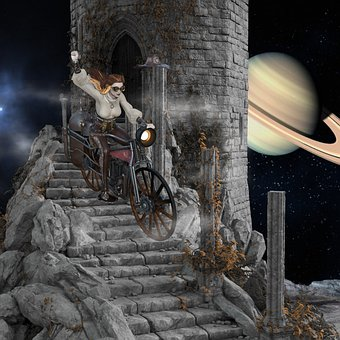 Woman, Motorcycle, Composing, Castle, Stairs, Sky
