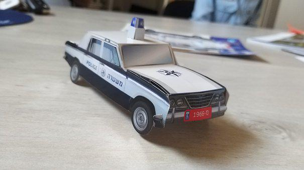 Police Car, Car, Paper Toy, Police, Vehicle, Auto