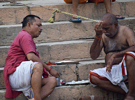Men, Stairs, Ganga Ghat, People, Culture, Religion
