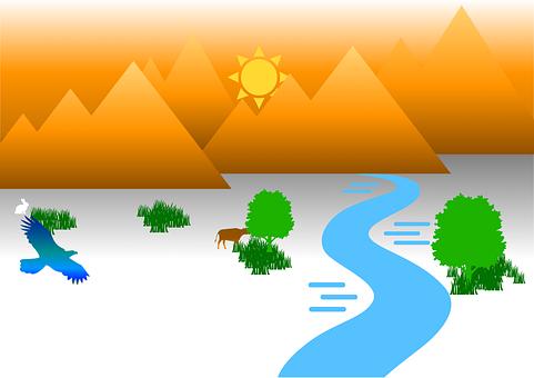 Sunrise, River, Mountains, Sun, Morning, Field, Stream